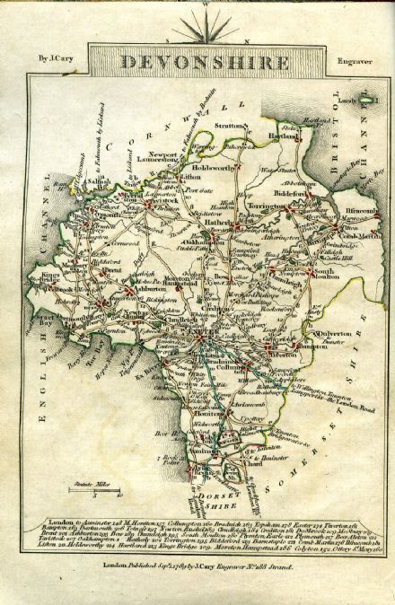 Devonshire County Map by John Cary 1790 - Reproduction